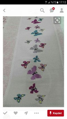 This Pin was discovered by Cec Butterfly Cross Stitch, Cross Stitch Borders, Cross Stitch Baby, Cross Stitch Designs, Cross Stitching, Cross Stitch Embroidery, Embroidery Patterns, Hand Embroidery, Cross Stitch Patterns