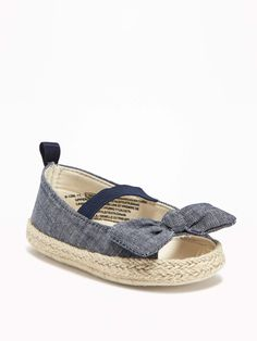 Chambray Peep-Toe Espadrilles for Baby | Old Navy