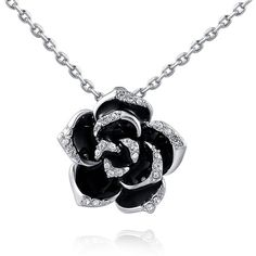 Amazon.com: Austrian Crystal Rose Gold Black Rose Necklace: Clothing ($14) ❤ liked on Polyvore featuring jewelry, necklaces, rose gold jewellery, rose necklace, pink gold necklace, rosette necklace and red gold necklace