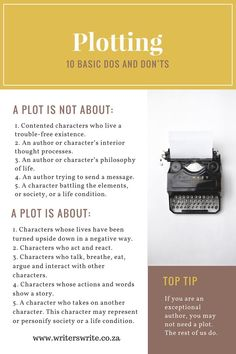 Basic Dos And Dont's For Plotting - Infographic In we wrote a post called 'Plotting – 10 Basic Dos and Don'ts'. We've used a section of that post to create today's infographic.In we wrote a post called 'Plotting – 10 Basic Dos and Don'ts'. Writing Promps, Script Writing, English Writing Skills, Book Writing Tips, Writing Characters, Writing Words, Fiction Writing, Writing Help, Writing A Book Outline