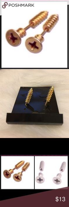 💕 Brand New Screw Style Earrings-Gold Brand New Super Cute Gold Screw Style Earrings. Available in silver as well. Stop by my closet for more great items to bundle! *Please submit respectable offers using the private offer feature. I do not discuss pricing in the comments section. Sorry...🚫Trades.* Jewelry Earrings