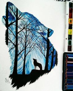 70 ideas tattoo animal abstract wolves for 2019 Girly Drawings, Cute Animal Drawings, Wolf Drawings, Wolf Painting, Painting & Drawing, Abstract Wolf, Wolf Artwork, Wolf Spirit Animal, Wolf Wallpaper