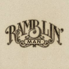 Custom typography by Aaron von Freter for Rockswell. lettering, branding, logo design, type, font, vintage, rock and roll, logos, branding, ramblin' man allman brothers band,  hank williams, retro graphic