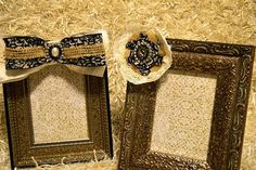 Antique Bronze and Black 5x7 Picture Frames Embellished with Handmade Damask Burlap & Ribbon Bow and Flower with Matching Rhinestone Accents on Etsy, $60.00