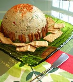 """Vegan """"Cheese"""" Ball with Smoked Almonds, Scallions and Olives – Vegan Recipes for Vegans and Vegetarians: The Blooming Platter in Virginia Beach, VA Vegan Apps, Vegan Foods, Vegan Snacks, Vegan Dishes, Vegan Treats, Vegan Cheese Recipes, Raw Food Recipes, Healthy Recipes, Dairy Free Sauces"""