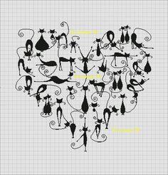 Different Kinda Cat Heart Tiny Cross Stitch, Beaded Cross Stitch, Crochet Cross, Cross Stitch Animals, Cross Stitch Designs, Cross Stitch Embroidery, Cross Stitch Patterns, Cross Stitch Freebies, Cross Stitching