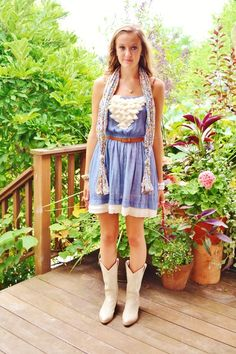 Dress with Cowboy boots... Love!