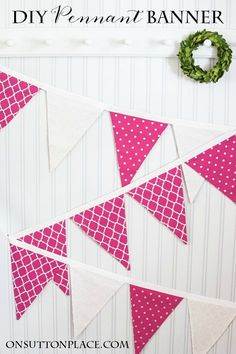DIY Pennant Banner Sewing Tutorial | Easy step by step directions to sew a banner. Photos and pennant template included. Great for seasonal decor, weddings or parties. Basic straight line sewing!
