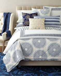 Lapis+Bedding+by+John+Robshaw+at+Neiman+Marcus.