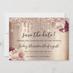 Shop Save The Date Florals Rose Gold Drips Marsala created by luxury_luxury. Christmas Wedding Invitations, Burgundy Wedding Invitations, Save The Date Invitations, Wedding Invitation Cards, Wedding Cards, Gold Invitations, Invites, Beauty Business Cards, Gold Business Card