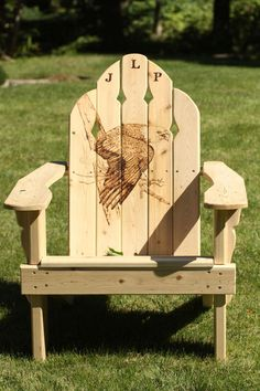 Eagle Adirondack Chair Pyrography  - Eagle Adirondack Chair Fine Art Print