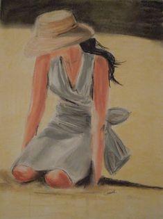 Lyncreations: Jeune fille à la plage - pastels secs Crayon Pastel Sec, Crayons Pastel, Portrait, Silhouette, Deco, Pastels, Painting, Inspiration, Charlotte