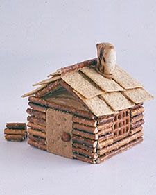 Pretzel and cracker log cabin