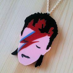 David Bowie Aladdin Sane necklace laser door sugarandvicedesigns