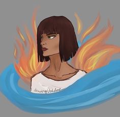 Zia with fire since she is a fire magician and water since she hosted Nepthys Tio Rick, Uncle Rick, Sadie Kane, Trials Of Apollo, Magnus Chase, Rick Riordan Books, Heroes Of Olympus, Olympians, Book Nerd