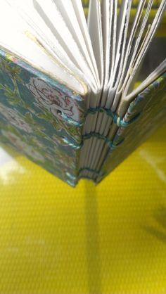 Hand made book  blue and green floral  coptic by BookBindingBirdy, $20.00