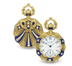 JACQUES & MARCUS. AN 18K GOLD, ENAMEL AND DIAMOND OPENFACE KEYLESS LEVER POCKET WATCH.