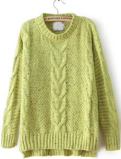 Green Cable Knitting Rib Hem High Low Sweater - Sheinside.com