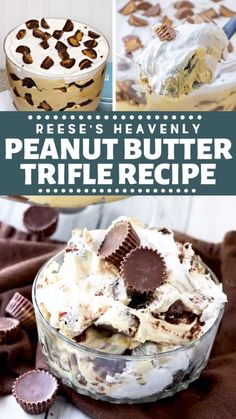 Reese's Heavenly Peanut Butter Trifle RecipeA Reese's dessert recipe perfect for a crowd! This Reese's Heavenly Peanut Butter Trifle Recipe has layers of peanut butter pudding, Reese's cups and brownies that everyone will love! It's perfect for Reese Dessert Recipe, Peanut Butter Trifle Recipe, Quick Dessert Recipes, Peanut Butter Desserts, Desserts For A Crowd, Reeses Peanut Butter, Pudding Desserts, Easy Cake Recipes, Easy Desserts