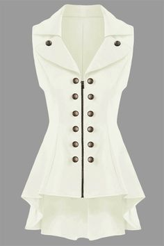 $22.50 Double Breast Lapel High Low Dressy Waistcoat - Off-white