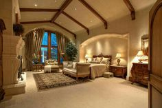 Craftsman Master Bedroom with The Painted Cottage Farmhouse French Bergere Ottoman, Cement fireplace, Carpet, metal fireplace Dream Master Bedroom, Master Bedroom Design, Home Bedroom, Master Suite, Master Bedrooms, Dream Home Design, My Dream Home, House Design, Luxury Bedroom Design
