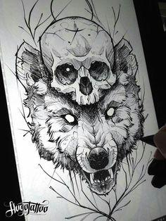 Fabulous Wolf Tattoo Design Ideas Suitable For Anyone Loves Spirit Animal 26 : Fabulous Wolf Tattoo Design Ideas Suitable For Anyone Loves Spirit Animal 26 Small Skull Tattoo, Tattoos Skull, Wolf Tattoos, Art Tattoos, Tattoo Sketches, Tattoo Drawings, Art Sketches, Art Drawings, Wolf Tattoo Design