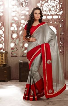USD 85.48Silver Chiffon Party Wear Saree  35510