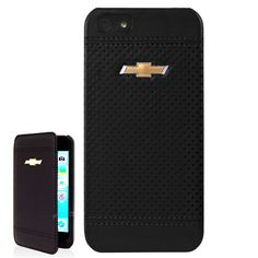 Black Leather cover for iPhone 5 and 5S with bowtie logo.