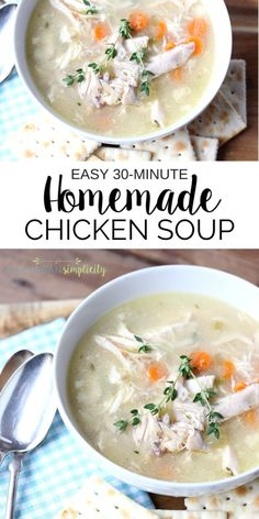 This recipe for the best Homemade Chicken Soup is so easy and delicious! It's ready in under 30 minutes! Come see the secret ingredient that makes it taste so good!   Dinner recipe idea