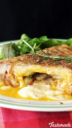 Recipe with video instructions: This cheesy, egg-stuffed sandwich has a bacon… Sandwich Recipes, Egg Recipes, Cheese Recipes, Pork Recipes, Cooking Recipes, Cooking Videos, Bread Recipes, Recipies, Turkey Sandwiches
