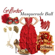 Gryffindor: Masquerade Ball, created by nearlysamantha on Polyvore