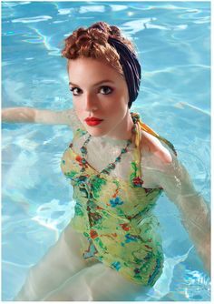 Bathing Beauty One Piece in Needlepoint By Esther Williams - This is the summer of retro bathing suits. I love the bright yellow color and cross stitch details. This is perfect for all ladies, whether they are curvy, thin, or full figured.