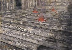 Quaternity 1973 Anselm Kiefer German, born 1945 Oil and charcoal on burlap 117 1/2 x 170 1/4 inches