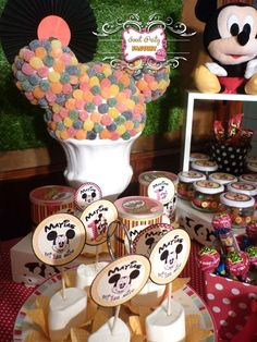 Fun Mickey Mouse decorations and treats at a boy birthday party!  See more party planning ideas at CatchMyParty.com!