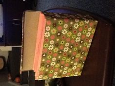 Card sorter (for all my free cards) made from a cereal box and scrapbook paper