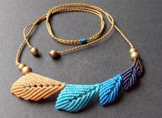 macrame leaf necklace boho bohemian hippie micro by Mediterrasian