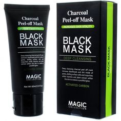 Charcoal Peel Off Cleansing Black Mask Blackhead Remover by Magic Collection - 60ml #CharcoalMaskBenefits #HomemadeFaceMask Charcoal Mask Benefits, Charcoal Peel Off Mask, Blackhead Remedies, Blackhead Remover, Acne Remedies, Natural Remedies, Deep Cleansing Mask, Avocado Face Mask, Cucumber Mask