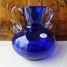 Vintage Blue Vase Handblown Cobalt Art Glass Made in Poland - Treasury Item. $26.00, via Etsy.