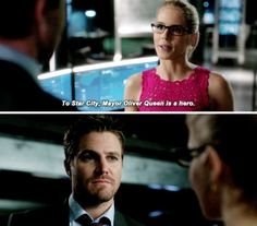 """""""To Star City, Mayor Oliver Queen is a hero"""" - Felicity and Oliver #Arrow"""