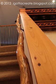 Make a rustic handrail from a tree branch.