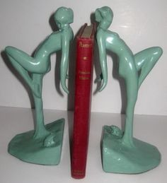 """FRANKART Nymph with Frog Bookends Art Deco in Green 10"""" Tall All Metal A Pair 