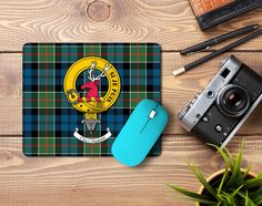 Rubber mousemat with Colquhoun clan crest and tartan - only from ScotClans