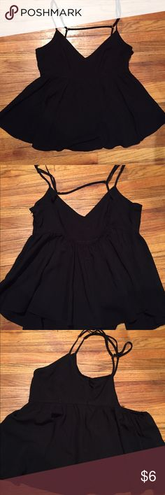 Forever 21 Flowy Black Top Forever 21 Flowy Black Top. Size small. Super cute just too small for me. Has a zipper on the side. Adjustable straps. Forever 21 Tops Tank Tops