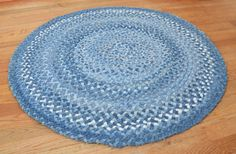 Vintage HandBraided Round Denim Rug 39 by AtticAtRedTopRanch ==== @Renee' Barclift remember when you taught me how to make heart shaped rugs from sheets? (you rock) Anyway LOOK at this!!!!!(and the price)