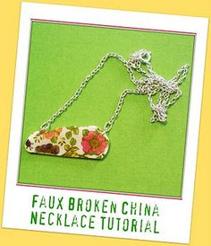 faux broken china necklace tutorial