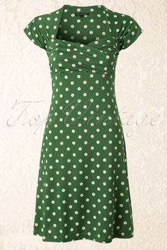 King Louie - 50s Ballroom Dress Polkadot in Green