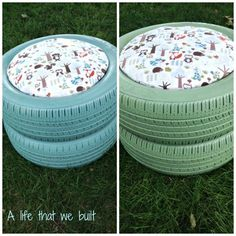 The life that we built! Tire Seats, Tire Chairs, Tire Furniture, Recycled Furniture, Handmade Furniture, Furniture Design, Outdoor Furniture, Outdoor Decor, Tire Craft