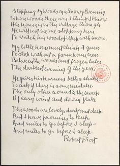"""Robert Frost's handwritten manuscript of """"Stopping by Woods on a Snowy Evening"""""""