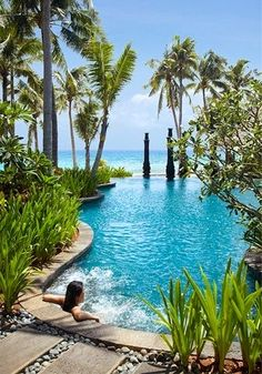 Awesome pool (Shangri-La's Boracay Resort and Spa, Phillipines)! Places Around The World, Oh The Places You'll Go, Travel Around The World, Places To Travel, Places To Visit, Vacation Destinations, Dream Vacations, Vacation Spots, Vacation Travel