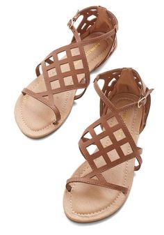 Joyful Sojourn Sandal - Flat, Faux Leather, Solid, Cutout, Casual, Beach/Resort, Spring, Summer, Good, Strappy, Brown
